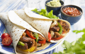 chicken and steak fajitas
