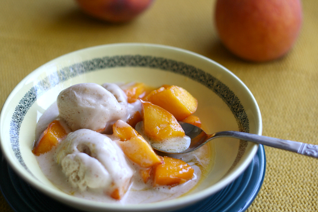 peaches and vanilla ice cream